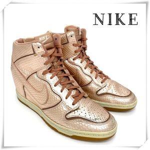 Nike Dunk Sky Hi Rose Gold Wedge Sneakers
